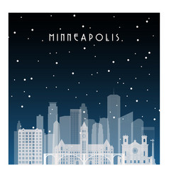 winter night in minneapolis night city vector image