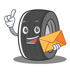 With envelope tire character cartoon style vector