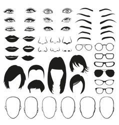 Woman face parts eye glasses lips and hair vector
