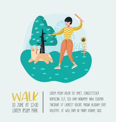 Woman training dog in the park dog poster vector