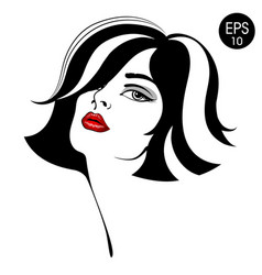 woman with red lips fashion portrait vector image