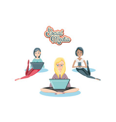 women with laptops social media icons vector image