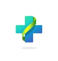 Blue medical cross logo pharmacy symbol vector image vector image
