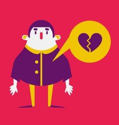 Cartoon Man with Broken Heart vector image