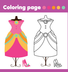 Coloring page with fashion dress and shoes vector