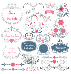 romantic hand drawn wedding graphic set of vector image vector image