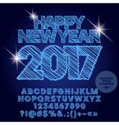 Shiny drawn Happy New Year 2017 greeting card vector image vector image