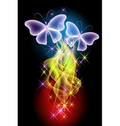 Smoke stars and butterflies vector image vector image