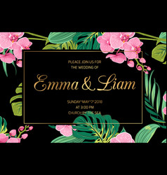 wedding invite pink orchid flowers jungle leaves vector image vector image