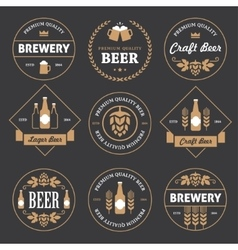 Beer emblems on black background vector image