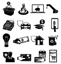 Bill payments icons set vector image