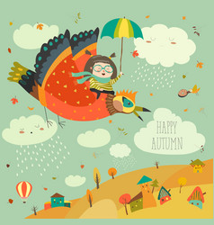 little girl flying in the sky with funny birds vector image