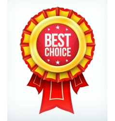 best choice gold red label with ribbons vector image