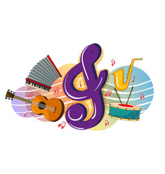 different musical instruments on poster vector image vector image