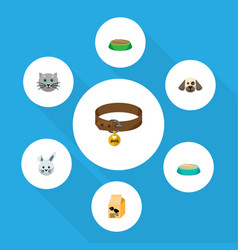 flat icon pets set of hound necklace bunny vector image vector image