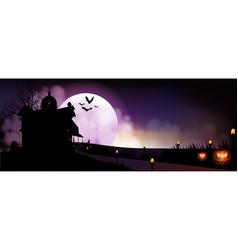 halloween pumpkins and dark house vector image