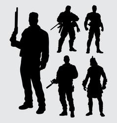 hero with gun silhouette vector image