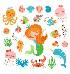 Mermaid and sea friends vector