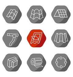 Sale buildings materials roof facade site icons vector image
