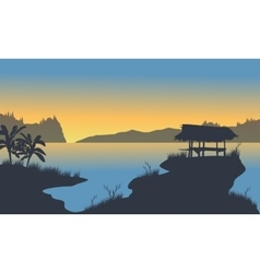 Small hut on the lake vector image vector image
