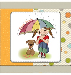 Young pretty girl and her dog friendship card vector