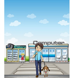 A man crossing the street with his dog vector image vector image