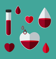 blood collection concept blood donation set of vector image