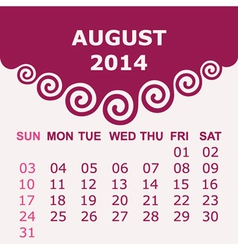 Calendar of august 2014 with spiral design vector