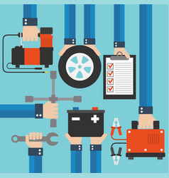 Car service and repairing equipment concept design vector