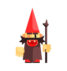 dwarf in a red hat grimly grins fairy tale vector image vector image