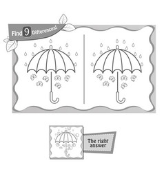 find 9 differences game black umbrella vector image vector image