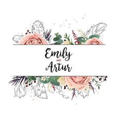 floral design card boho art wedding watercolor vector image vector image
