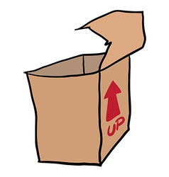 freehand drawn cartoon empty box vector image vector image
