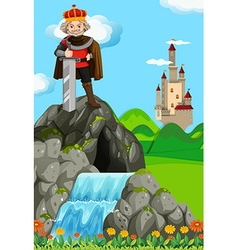 King with giant sword in his kingdom vector image vector image