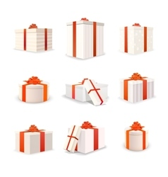 Set of white bright gift boxes with red tapes and vector image