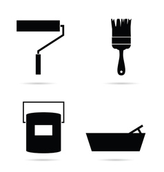 tool for painting set in black vector image