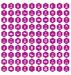 100 folk icons hexagon violet vector image