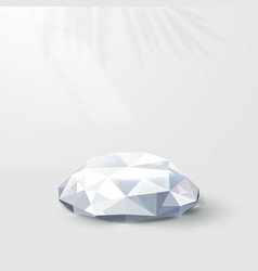 3d white diamonds with reflection podium display vector