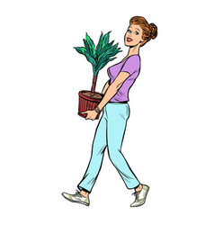 A woman carries pot with potted plant vector