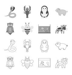 an unrealistic outlinemonochrome animal icons in vector image
