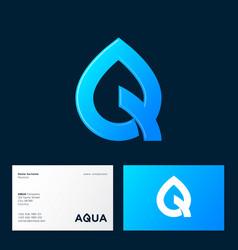 Aqua logo spa therapy emblem letter q like drop vector
