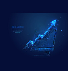 arrow up on monitor screen low poly vector image