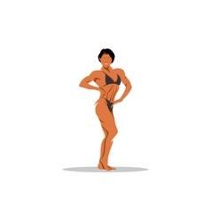 Attractive female bodybuilder demonstrating vector image