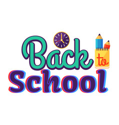 back to school cartoon style sticker with text vector image