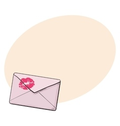 Backside of pink envelope with red lipstick kiss vector image