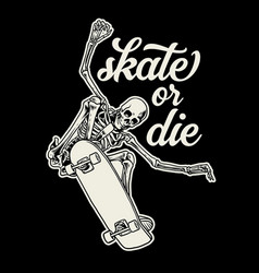 Badge design skull enjoying riding skateboard vector