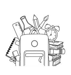 Bag and supplies school desgin vector