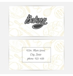 Bakery business cards with hand lettering logo vector
