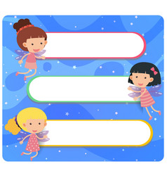 banner template with fairies flying vector image