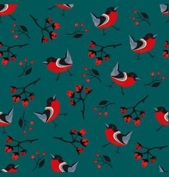 Bird seamless pattern bullfinch birds on a modern vector